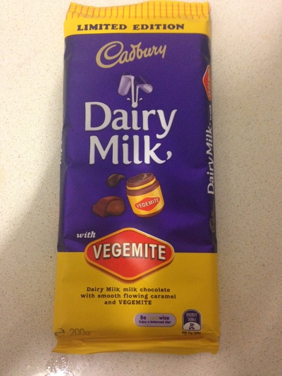 Cadbury vegemite chocolate bar