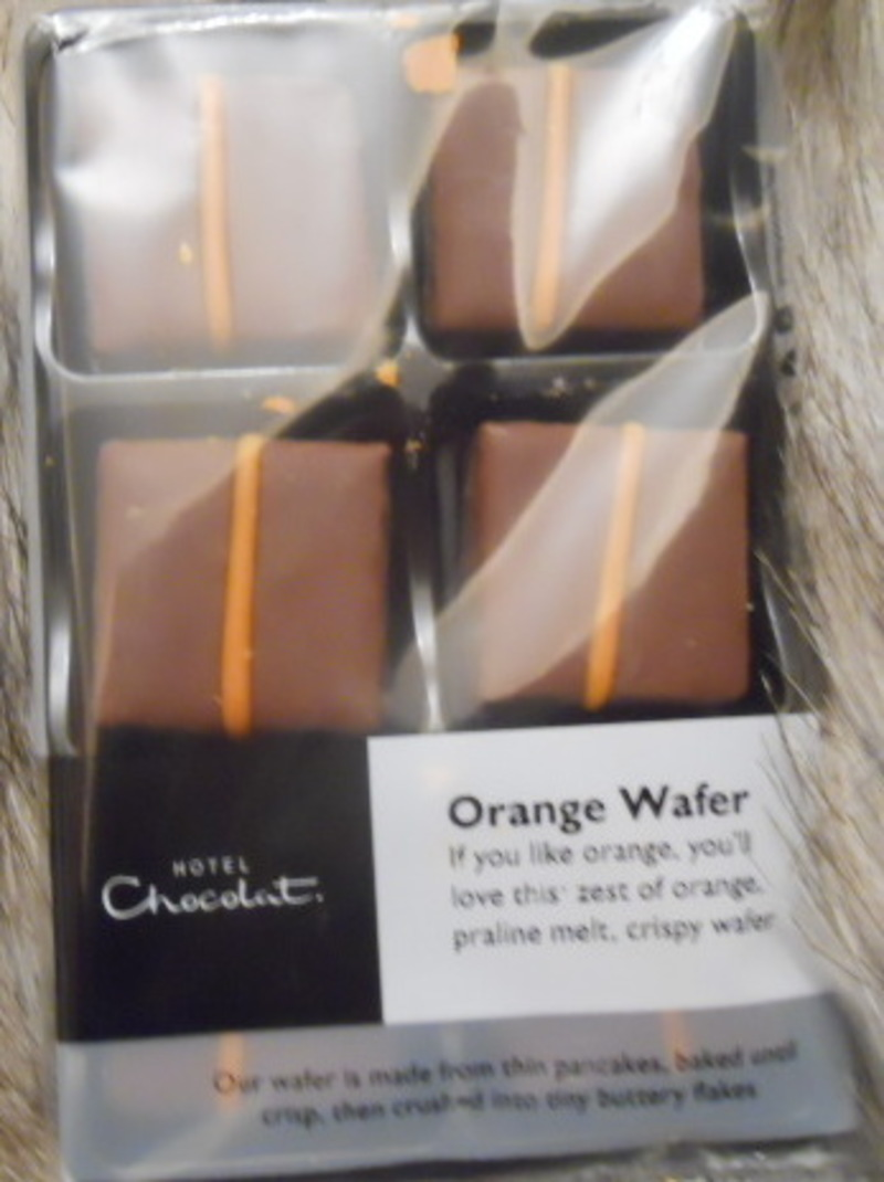 Hotel chocolat, orange wafers, chocolate