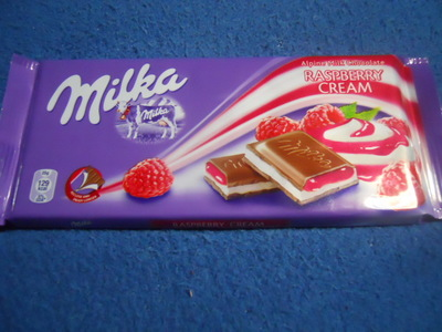milka, raspberry cream, chocolate