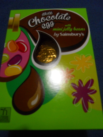 sainsbury's chocolate egg, easter egg, jelly beans